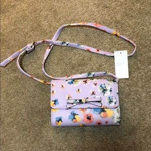 Nine West cross body purple flower pattern NWT